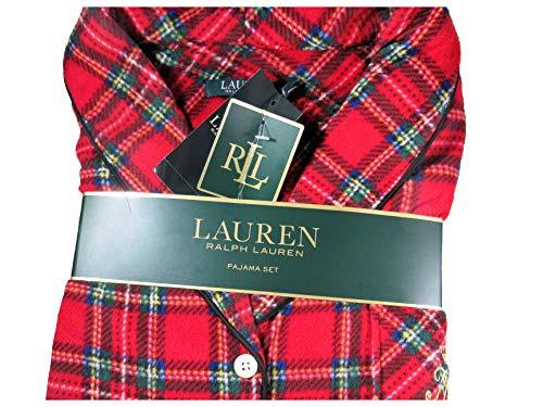 (Lauren Ralph Flannel Plaid Pajama Set Size Large Shawl Collar Sleepware)
