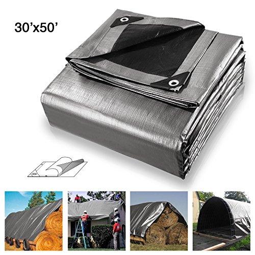 Koval Inc. Waterproof Heavy Duty Silver Poly Tarp (30'x50', Silver)