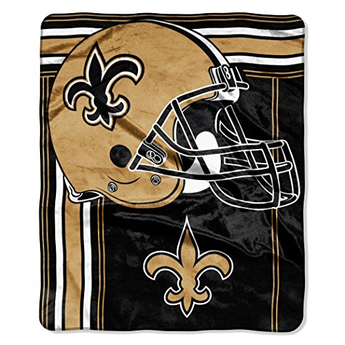 "The Northwest Company NFL New Orleans Saints Touchback Plush Raschel Throw, 50"" x 60"", Old Gold"