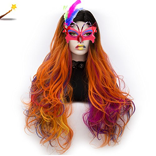 Long Cosplay Wigs Curly Heat Resistant Spiral Costume Wigs Anime Fashion Wavy Daily Party Black to Blue 30
