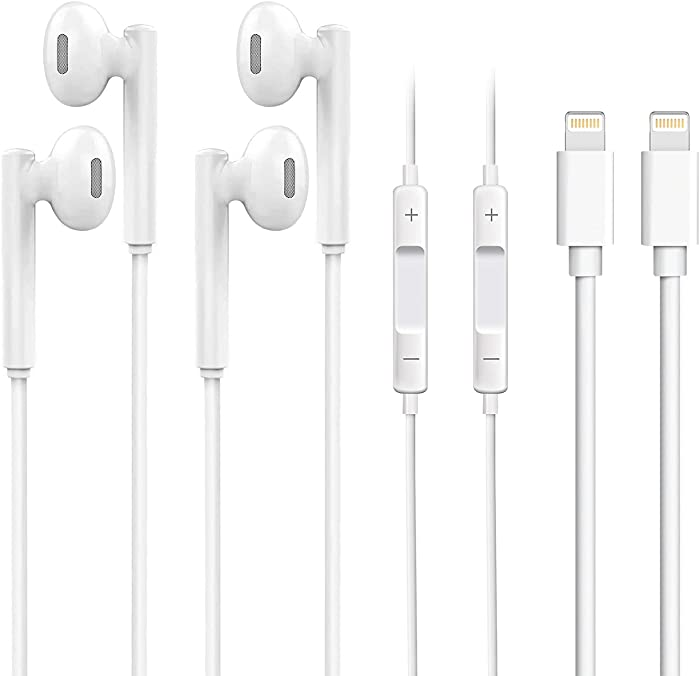 iPhone Earphones, 2 Pack Wired Headphones Earbuds, with Built-in Mic & Volume Control, Compatible with iPhone 12/12 Pro/SE/11/11 Pro/XR/XS/8 Plus/7 Plus (White)