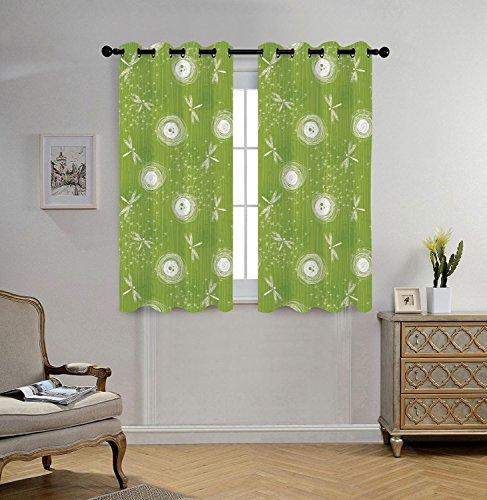 Stylish Window Curtains,Dragonfly,Sketch Style Dandelion Flo