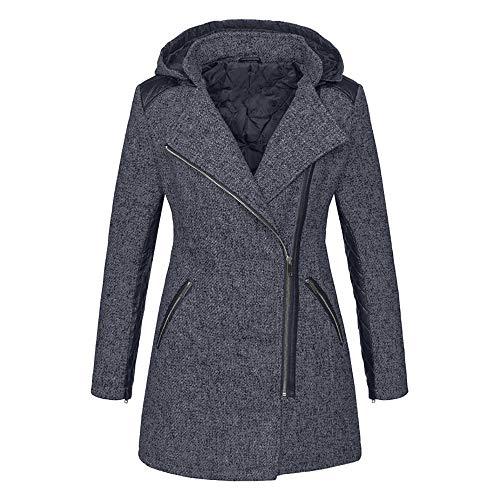 Aniywn Women's Loose Plus Size Slim Jacket Ladies Lapel Autumn Winter Hooded Zipper Slim Trench Coat Jacket Gray