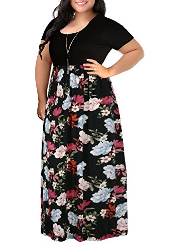(Nemidor Women's Chevron Print Summer Short Sleeve Plus Size Casual Maxi Dress(18W,Black Peony))