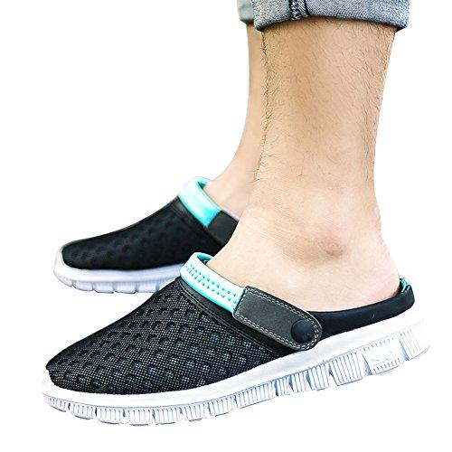 Shoes Unisex Hollow Mesh Slipper Mule Black 1bacha Adult Sandal Clog Tortor nUSRzR