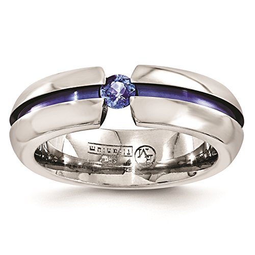 Titanium Blue Anodized w/Blue Sapphire Grooved 6mm Wedding Ring Band Size 6.5 by Edward Mirell by Venture Edward Mirell Titanium Bands