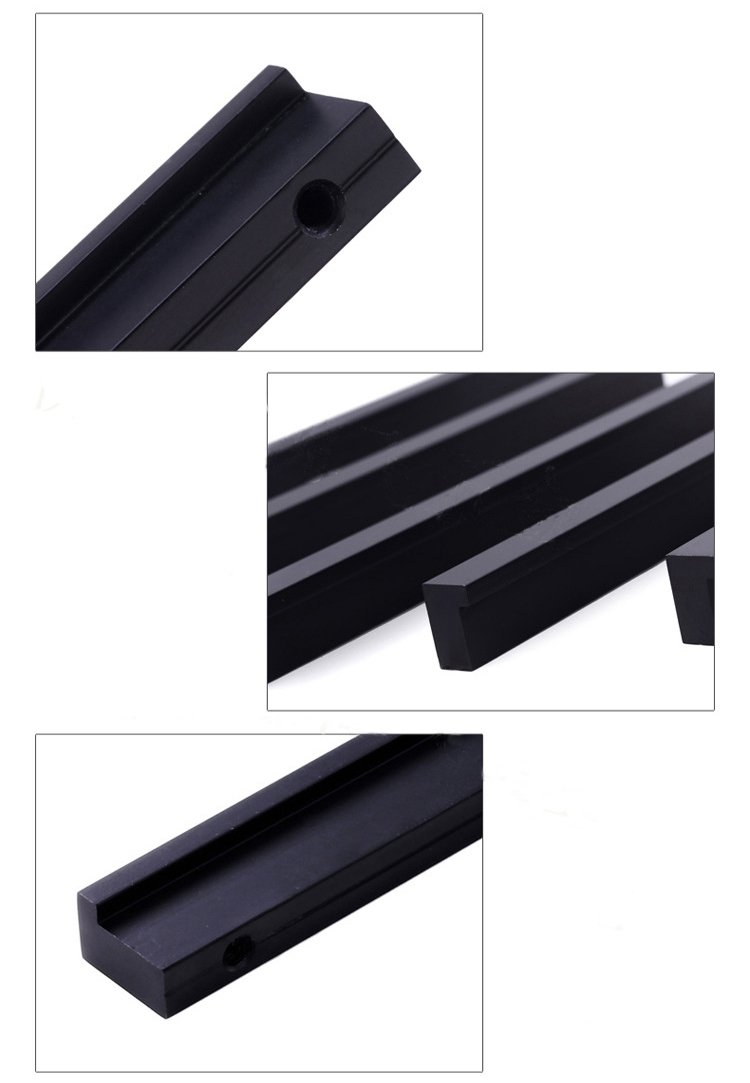 KFZ Modern Minimalist Cabinet Handles, Drawer Pull Door Knobs, Matte Black Cabinet Hardware,DJH614 Aluminum Alloy Furniture Handles(5, 6.3'' Hole Center) …