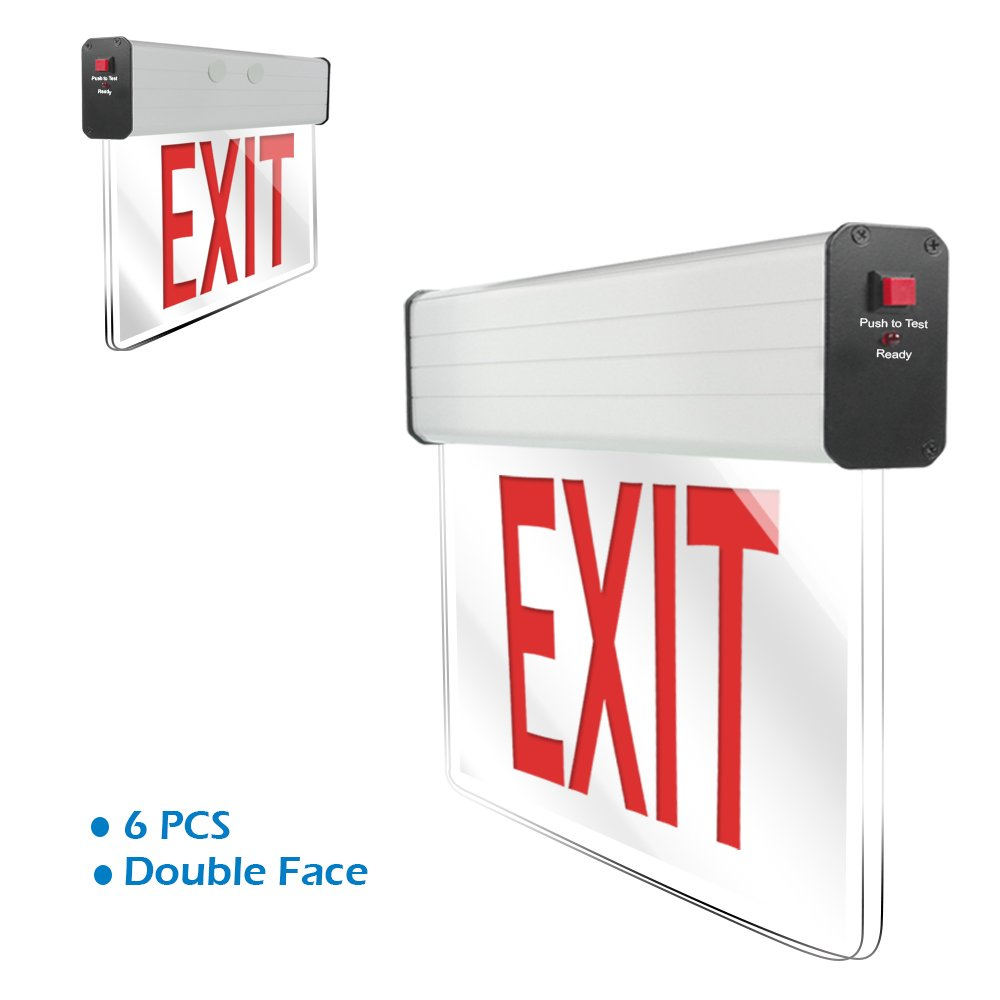 eTopLighting [6 Pack] LED Exit Sign Emergency Light, Translucent Body & Red Letter, Double Face, Side & Top Mounting Adapter, AGG2177