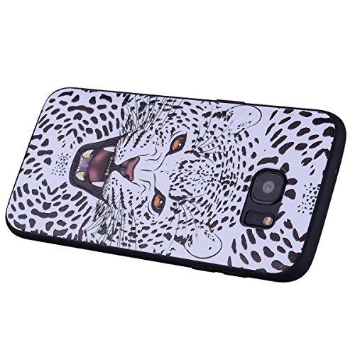 Funda Samsung Galaxy S7 Edge, EUWLY Silicona Carcasas Samsung Galaxy S7 Edge TPU Funda Antigolpes Anti-Rasguño Ultra Slim Cover Soft Case Protectora Estuche Carcasa de TPU Pintada en Relieve Creativa  Tigre blanco