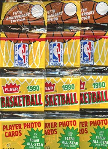 (4) 1990-91 Fleer Basketball Rack Pack Lot