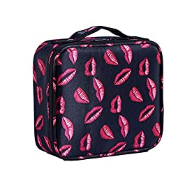 Goriest Makeup Bag,Cosmetic Bags travel Makeup Train Case Travel Portable Handbag Storage Bag Large Organizer with Adjustable Dividers