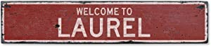 NOT BRANDED Welcome to Laurel Vintage US Laurel, Montana Distressed Custom Wooden City Sign Home Decor Wood Plaque Gift for Women