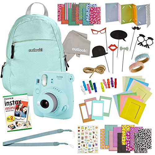 Instax Mini 9 Camera Travel Bundle – 60 Piece Accessory Kit with Shoulder Bag, 20 Sheets of Film, Lens Cleaning Cloth, Strap, Washi Tape, Stickers, Photo Frames + Album-by Outlook 2020 (ice Blue)