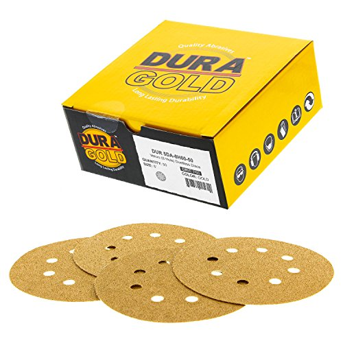 "Dura-Gold - Premium - 60 Grit - 5"" Gold Sanding Discs - 8-Hole Dustless Hook and Loop for DA Sander - Box of 50 Finishing Sandpaper Discs for Woodworking or Automotive"