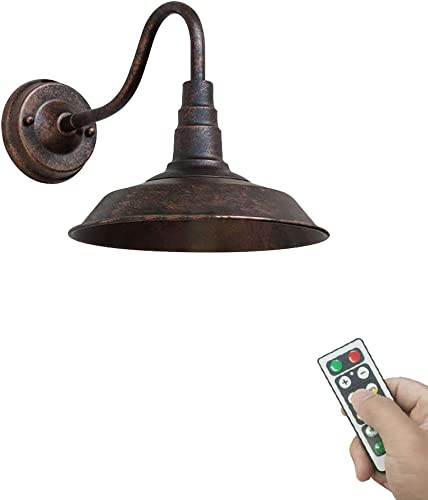 KAYYELAMP 1-Light 100 Lumens Multi-Function LED Battery Run Remote Control No Cord Rustic Vintage Wall Sconce Light Fixture