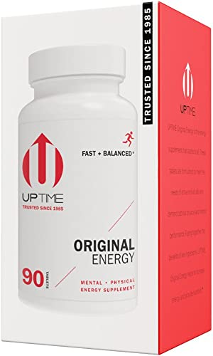 UPTIME – Premium Energy Caffeine Supplement – Original Blend Tablets – 90ct Bottle – Zero Calories