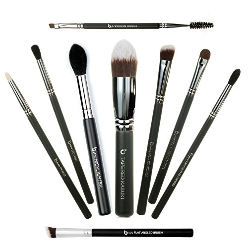 Expert Eye Makeup Brushes Includes 9 Must Have Eyeshadow & Eyeliner Brush Set: Pencil, Tapered Blending, All Over Shader, Crease, Tapered Kabuki, mini Flat Angled, mini Angled, Brow, Highlighter