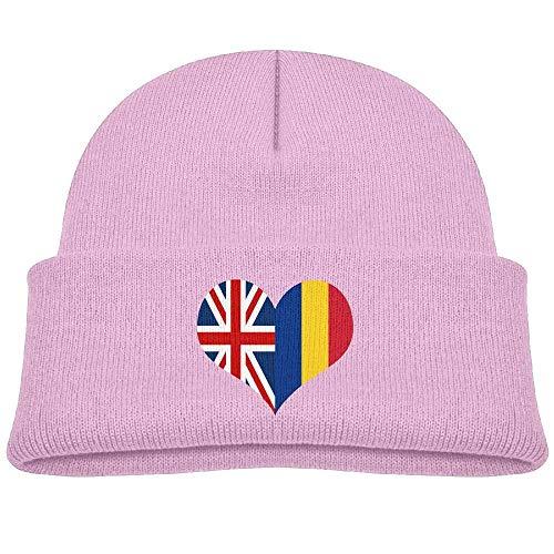 bishbew Warm Romanian British Flag Printed Baby Boy Girls Winter Hat Beanie Pink