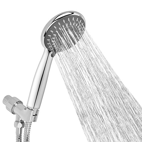 Aoche 5 Function Luxury Handheld Shower Head with Hose and Bracket Holder, Massage, Rainfall, Spa Experience, High Pressure, Water Saving, Easy Installation, Chrome Finish