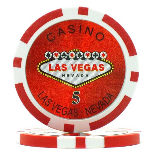 Trademark Poker Clay Laser Las Vegas 100 Poker Chips (5-Piece), 15gm