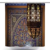 vanfan-Durable Shower Curtains Lantern Lamp In A Traditional Islamic Style Polyester Bathroom Shower Curtain Set With Hooks(72 x 96 inches)