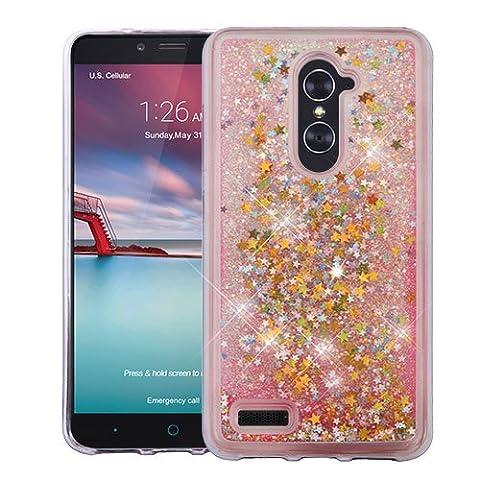 ZTE BLADE X MAX / ZTE ZMAX PRO Case, Casey Case, [Sparkle Bling] [Flowing Liquid Quicksand Glitter Sand] Protective Hybrid TPU Bumper Back Cover (Stars - (Zte Zmax Phone Case Pink Hybrid)