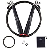 Speed Jump Rope Best for Skipping Exercise, Fitness Skip Training, Boxing, MMA, Comes With a Nylon Bag and an Extra Professional Sports Cable, Fully Adjustable to Fit Men, Women and Children