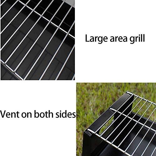 Barbecue Portable, Barbecue Grill, Barbecues Au Charbon De Bois en Acier Inoxydable, Barbecue Barbecue Pliable, pour 3-6 Personnes, Taille 71X22.5X35cm