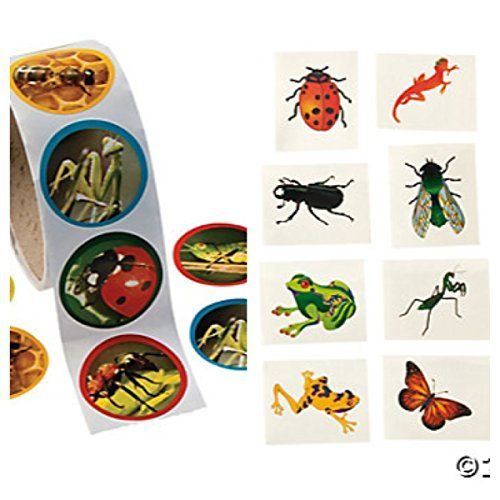 - BUG -INSECT Party FAVORS - 100 Stickers - 72 TATTOOS - Classroom GIVEAWAYS Teacher -SCIENCE Kids Activity