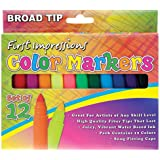 First Impressions Color Art Markers for Kids Set of 12 Broad Tip - Assorted Colors
