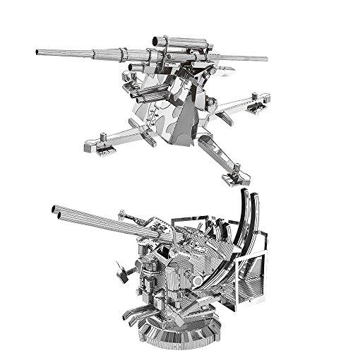 88mm Gun Flak - 2pcs MoTu 3D Metal Nano Puzzle US Anti-Aircraft 40mm Twin Gun + German 88mm Flak Gun Model Kits W21103-04 DIY 3D Laser Cut Jigsaw Toys