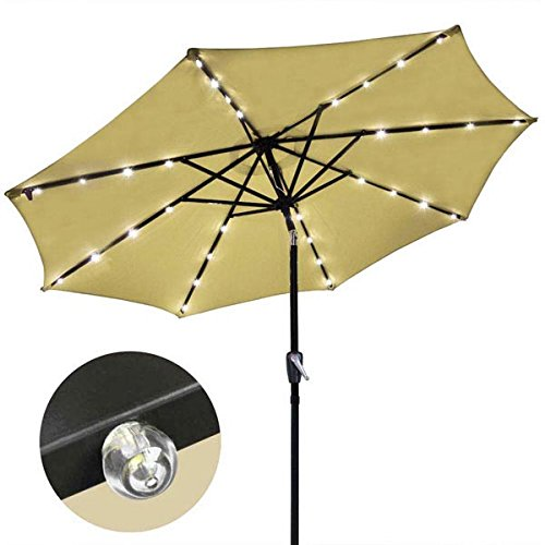 9 Foot Tan Market Patio Umbrella Outdoor Furniture with LED with 8 ribs
