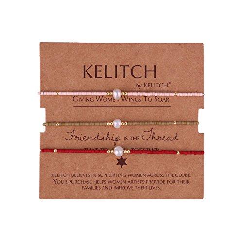 KELITCH 3 Pcs Shell Pearl Seed Beads Friendship Bracelets Handmade Adjustable String Bracelet #G