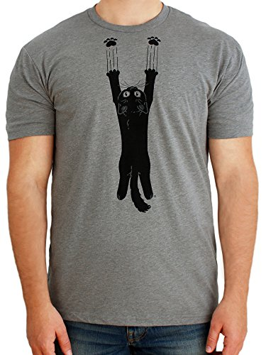 Paw Addict Mens Scratch Cat Graphic T-Shirt (Grey, X-Small)