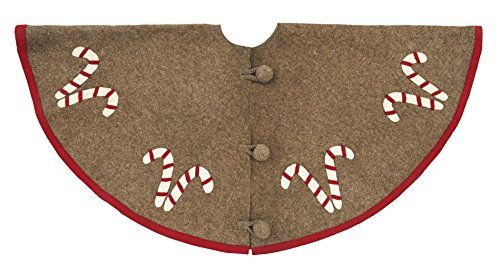 Arcadia Home TF403G Candy Cane Christmas Tree Skirt, Natural