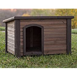 NEW! Log Cabin Dog House Weather Resistant Wood Large Outdoor Pet Shelter Cage Kennel (Large)