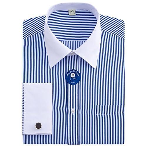 J.Ver Men's Regular Fit French Cuff Spead Collar Long Sleeve Metal Cufflink Dress Shirts - Color Stripe 02 Blue, Size:...