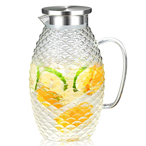 HIHUOS 2 Liters Glass Water Pitcher With Pineapple Shape and Tight Stainless Steel Lid, Carafe With Long Comfortble…