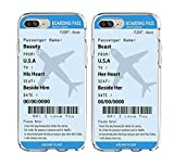SHARK 'Boarding pass''Plane tickets' Best Friends Style/Boyfriend&Girlfriend/His and Hers/ Matching Couple Cases for (Beast:Iphone 7 PLUS/8 PLUS)