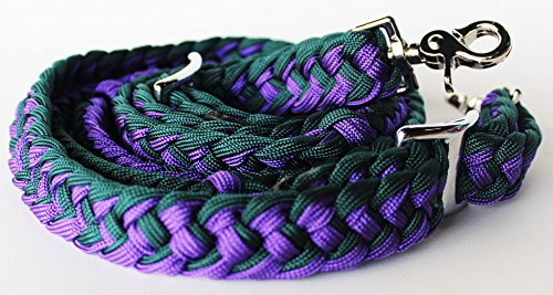 Braided Nylon Tack - PRORIDER Roping Knotted Horse Western Barrel Reins Nylon Braided Tack Purple Green 60766