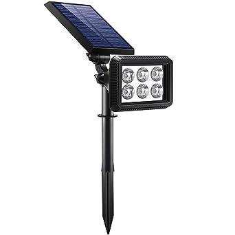 Lámparas Solar, IP64 A Prueba de Agua Focos LED Exterior Solares, 2 Inteligente Modos
