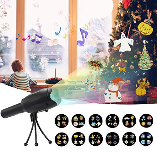 Christmas Projector Flashlight - LED Projector Light Handheld 12 Slides Pattern - Battery Operated & USB Charge for Holiday Birthday Party Christmas Xmas -