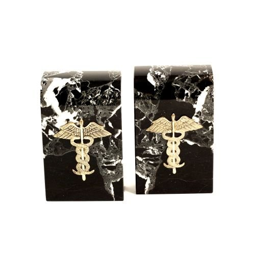 Medical Bookends (Medical Caduceus Icon Bookends - Black Marble with Green Tone Highlights)