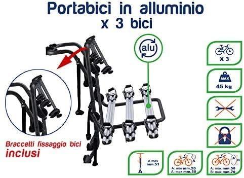 Generico RVS Portabici per Auto Posteriore preassemblato Mak 3 in Alluminio 3 Bici per Opel Zafira Tourer 2012