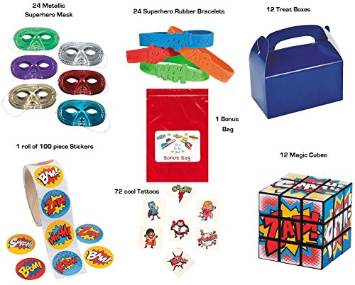 244 piece Superhero Party Favor Bundle Enough for 12 Kids (Stickers, Mask, Treat Boxes, Tattoos, Cube Toy, Bracelets)
