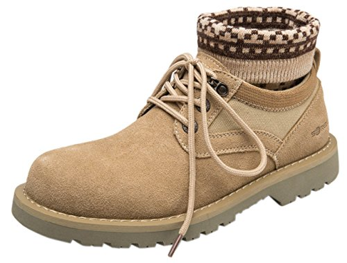Steel Toe Chukka (IF FEEL Men's Khaki Suede Leather Steel Toe Lace Up Rubber Sole Winter Combat Chukka Boots High Top Oxford Shoes - Size 7.5)