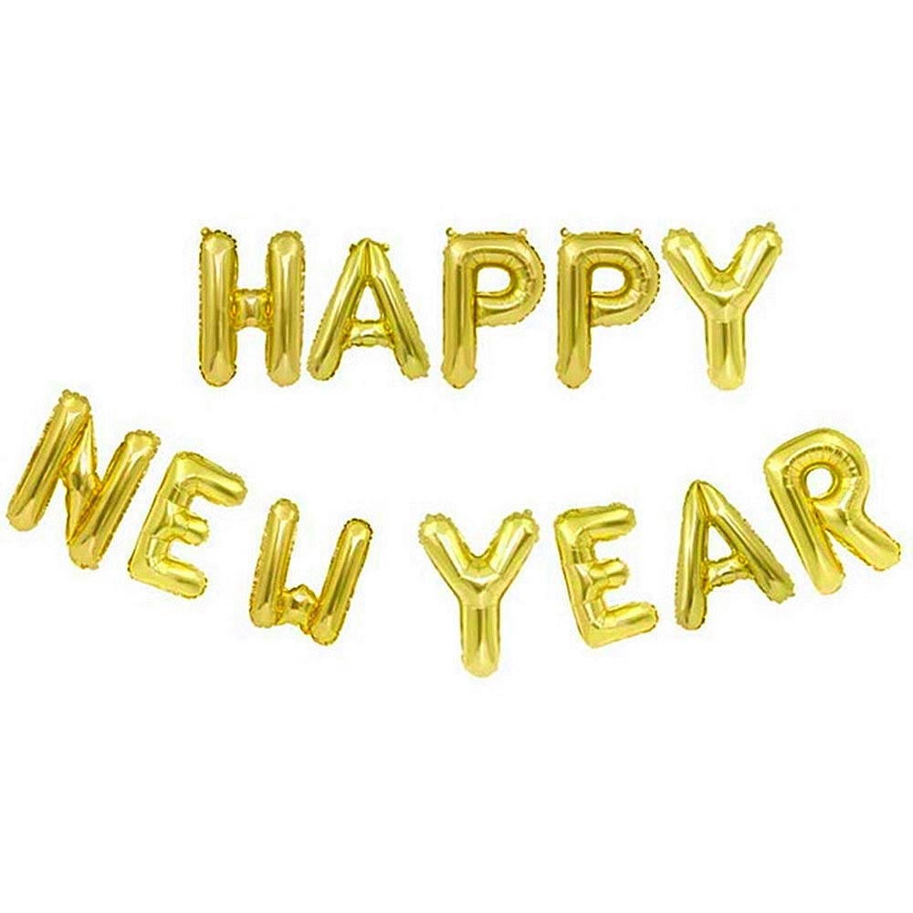 TRIXES Gold Happy New Year Foil Letter Balloon – Large Size- Festive Decoration for Seasonal Theme Parties