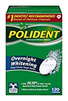 Polident Overnight Whitening Denture Cleanser Tablets, 120 Count