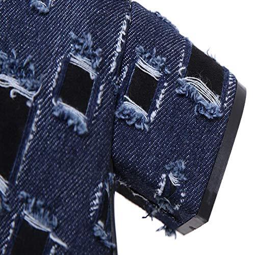 Nappe Nappe KUKI KUKI KUKI Basso Scarpe Donna Stivali Blue Lato E Piattaforma Denim Impermeabile Tubo Tacco Donna Alto Stivali Cerniera Donna Autunno Shorts Inverno rOqrw6