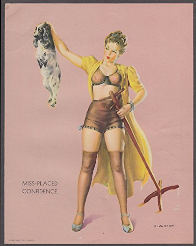 Miss-Placed Confidence Elvgren pin-up sheet 1940s Louis F Dow Co